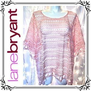 LANE BRYANT * Pink Lace See-Through Blouse * 26/28